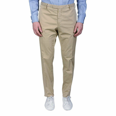 BOGLIOLI Milano Beige Cotton Flat Front Slim Fit Pants EU 48 NEW US 32