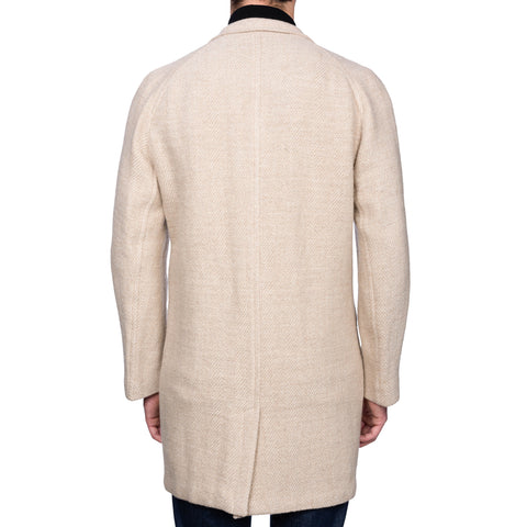 BOGLIOLI Milano Beige Herringbone Wool-Linen Jacket Coat NEW US 44 / XL