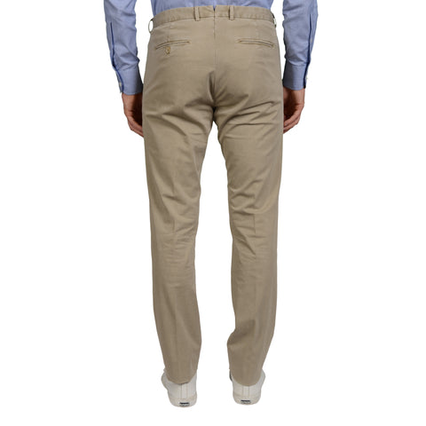 BOGLIOLI Milano Beige Twill Cotton Flat Front Slim Fit Pants EU 48 NEW US 32