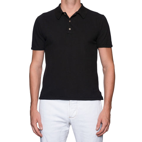 BOGLIOLI Milano Black Garment Dyed Cotton Polo Shirt NEW Size M