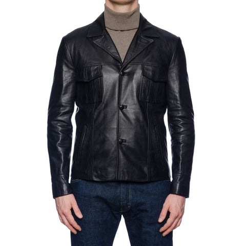 BOGLIOLI Milano Black Leather Flight Jacket EU 48 NEW US S