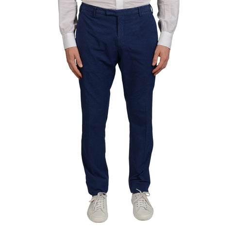 BOGLIOLI Milano Blue Cotton Flat Front Slim Fit Pants EU 50 NEW US 34