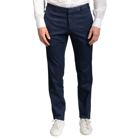 BOGLIOLI Milano Blue Cotton Flat Front Stretch Slim Fit Pants EU 48 NEW US 32