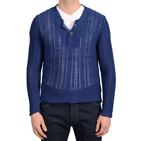 BOGLIOLI Milano Blue Cotton Knitted Henley Sweater NEW Size M