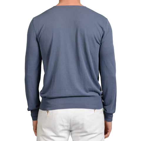 BOGLIOLI Milano Blue Cotton V-Neck Sweater NEW Size M