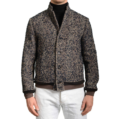 BOGLIOLI Milano Blue Herringbone Wool Bomber Jacket EU 48 NEW US 38 / S