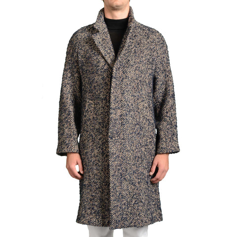 BOGLIOLI Milano Blue Herringbone Wool Unlined Overcoat EU 54 NEW US 44 / XL