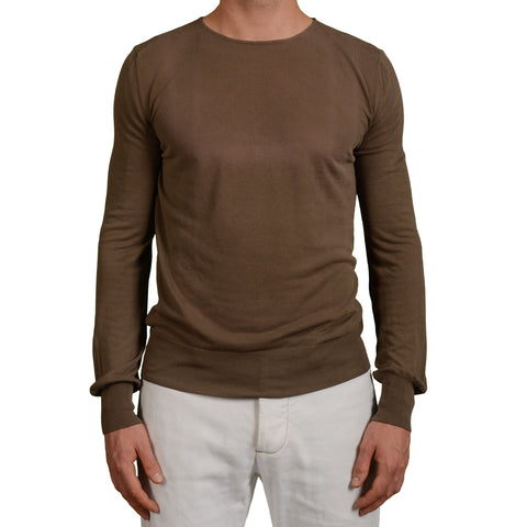 BOGLIOLI Milano Brown Cotton Crewneck Sweater NEW Size M Defect
