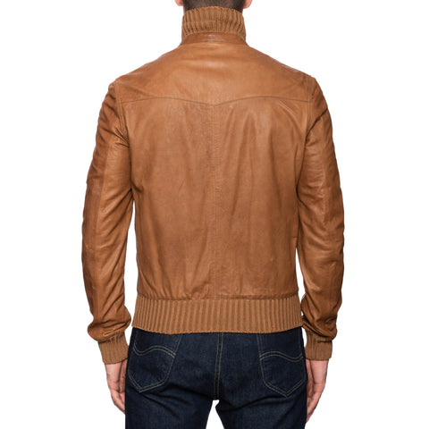BOGLIOLI Milano Brown Leather Dual Zip Bomber Flight Jacket EU 48 NEW US S