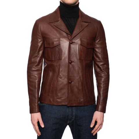 BOGLIOLI Milano Brown Leather Flight Jacket EU 48 NEW US S