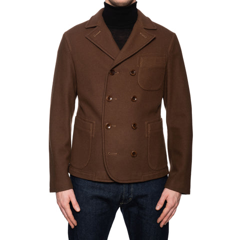 BOGLIOLI Milano Brown Wool Unlined Pea Coat EU 50 NEW US M