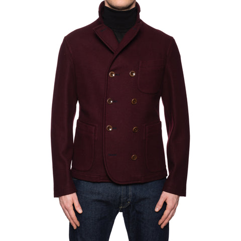 BOGLIOLI Milano Burgundy Wool Unlined Pea Coat EU 48 NEW US S