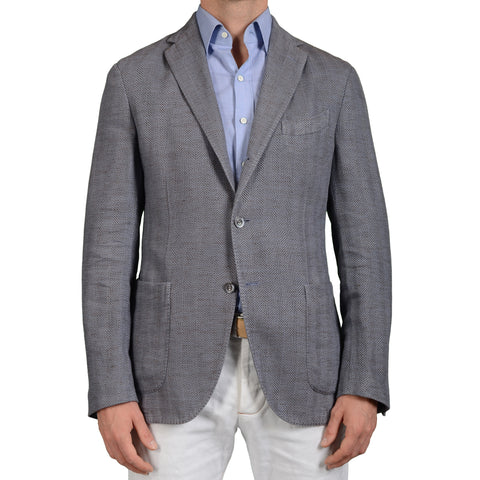 "BOGLIOLI Milano ""Coat"" Blue Herringbone Cotton-Linen Unlined Blazer Jacket NEW"