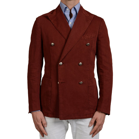 "BOGLIOLI Milano ""Coat"" Crimson Cotton-Linen DB Blazer Jacket EU 50 NEW US 40"