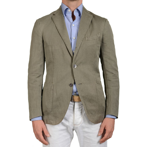 "BOGLIOLI Milano ""Coat"" Sage Cotton-Linen Unlined Blazer Jacket EU 50 NEW US 40"