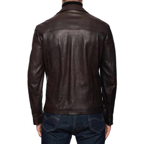 BOGLIOLI Milano Dark Brown Leather Flight Jacket EU 48 NEW US S