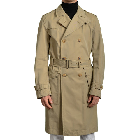 "BOGLIOLI Milano ""Dover"" Beige Cotton Unlined DB Trench Coat EU 50 NEW US 40 / M"