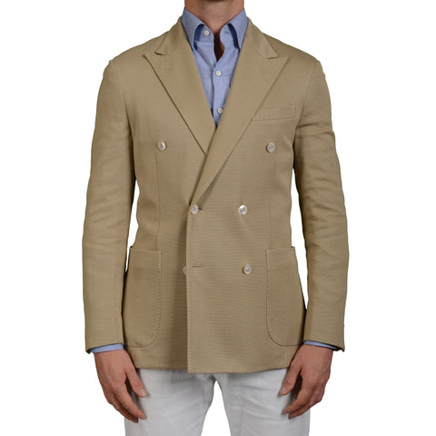 "BOGLIOLI Milano ""Dover"" Beige Textured Cotton DB Blazer Jacket EU 50 NEW US 40"
