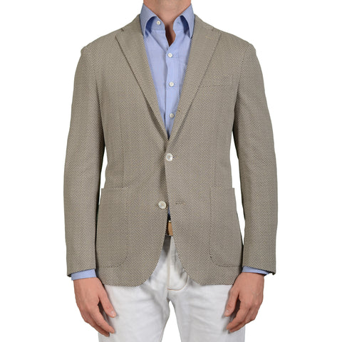 "BOGLIOLI Milano ""Dover"" Gray Herringbone Cotton Unlined Blazer Jacket 48 NEW 38"