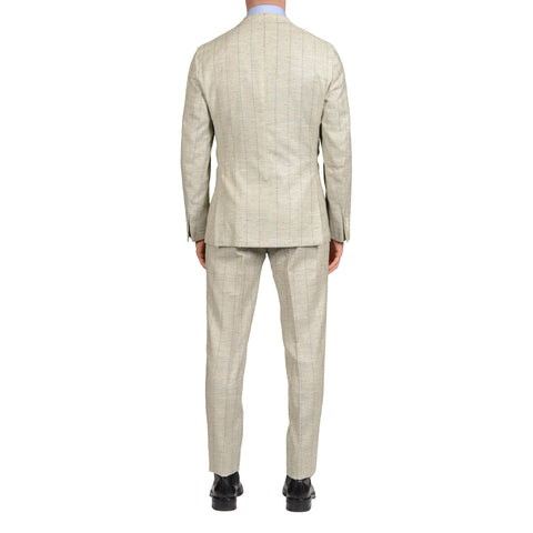 "BOGLIOLI ""Dover"" Gray Striped Silk-Wool-Mohair Peak Lapel Unlined Suit NEW"