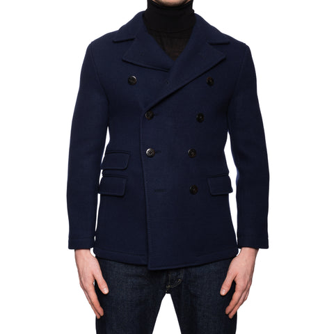 "BOGLIOLI Milano ""Dover"" Navy Blue Wool Pea Coat EU 46 NEW US XS"
