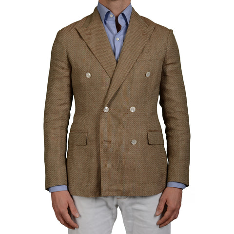 "BOGLIOLI Milano ""Dover"" Tan Wool-Linen Woven DB Blazer Jacket EU 50 NEW US 40"