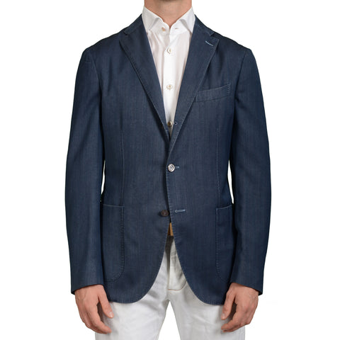 "BOGLIOLI Milano ""K.Jacket"" Blue Herringbone Wool Blazer Jacket EU 50 NEW US 40"