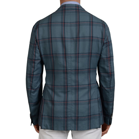 "BOGLIOLI Milano ""K.Jacket"" Blue Plaid Cotton-Silk DB Blazer Jacket 50 NEW US 40"