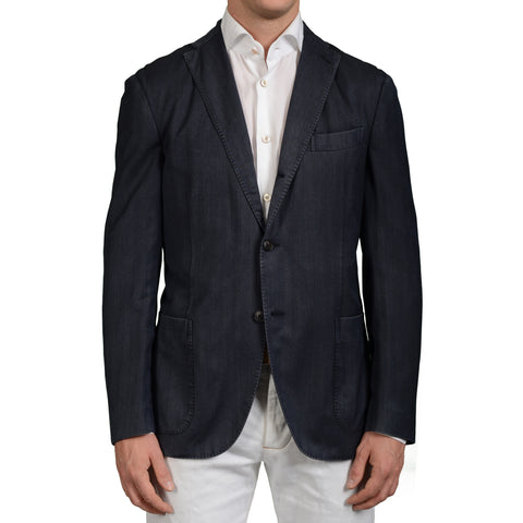 "BOGLIOLI Milano ""K.Jacket"" Dark Blue Herringbone Wool Blazer Jacket 50 NEW US 40"