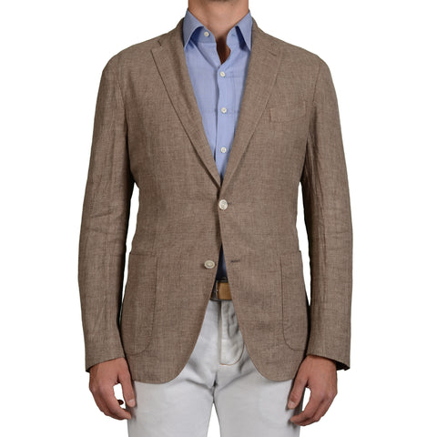 "BOGLIOLI Milano ""K.Jacket"" Sand Linen-Wool-Silk Unlined Blazer Jacket 52 NEW 42"