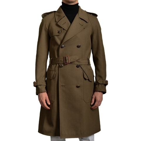 BOGLIOLI Milano Khaki Wool Blend Unlined DB Trench Coat EU 48 NEW US 38 / S
