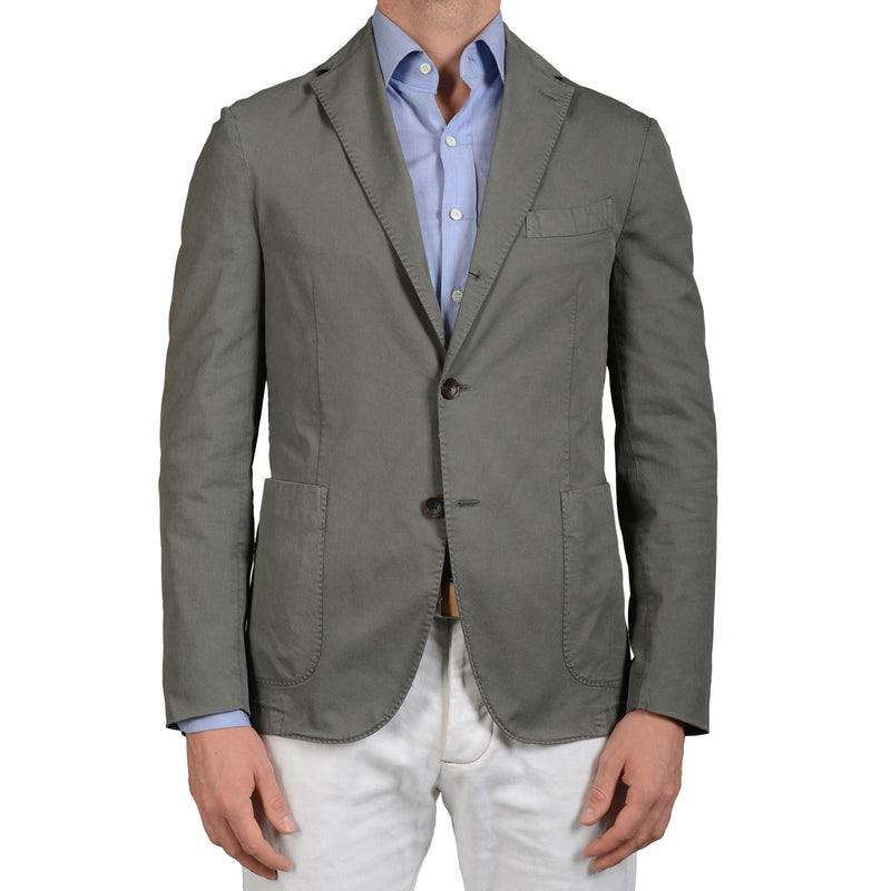 "BOGLIOLI Milano ""Mtm"" Teal-Gray Cotton Unlined Blazer Jacket EU 52 NEW US 42"