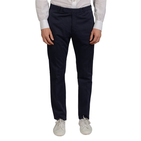 BOGLIOLI Milano Navy Blue Cotton Flat Front Slim Fit Pants NEW