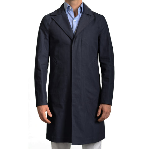 BOGLIOLI Milano Navy Blue Twill Cotton Overcoat NEW
