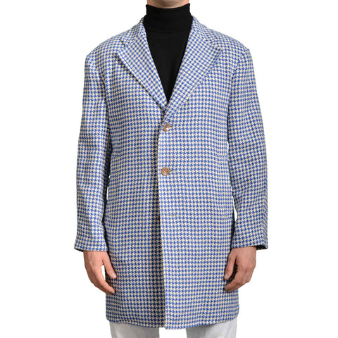 "BOGLIOLI Milano ""Retford"" Blue Houndstooth Cotton-Silk Coat EU 48 NEW US 38 / S"