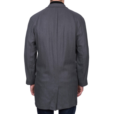 "BOGLIOLI Milano ""Retford"" Gray Herringbone Silk Coat NEW US 44 / XL"