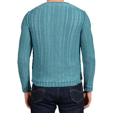 BOGLIOLI Milano Teal Blue Cotton Knitted Henley Sweater NEW Size M