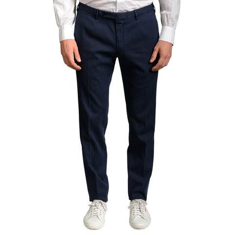 "BOGLIOLI Milano ""Wear"" Blue Cotton Flat Front Stretch Slim Fit Pants EU 50 NEW US 34"
