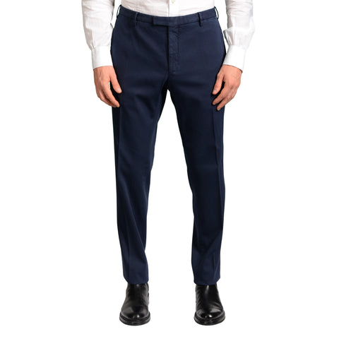 "BOGLIOLI Milano ""Wear"" Blue Cotton Flat Front Stretch Slim Fit Pants NEW"