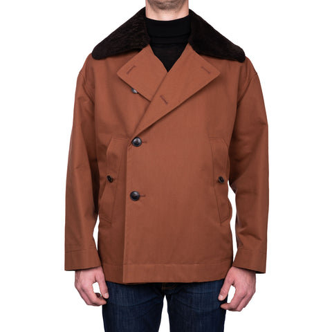 "BOGLIOLI Milano ""Wear"" Brown Cotton Blend Pea Coat NEW US 48 / 4XL"