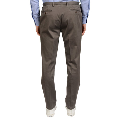 "BOGLIOLI Milano ""Wear"" Gray Cotton Twill Flat Front Slim Fit Pants NEW"