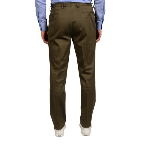 "BOGLIOLI Milano ""Wear"" Khaki Cotton Flat Front Slim Fit Pants EU 54 NEW US 38"