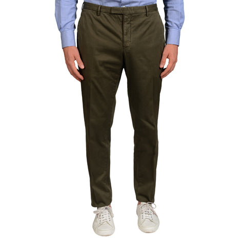 "BOGLIOLI Milano ""Wear"" Olive Cotton Flat Front Slim Fit Pants EU 50 NEW US 34"