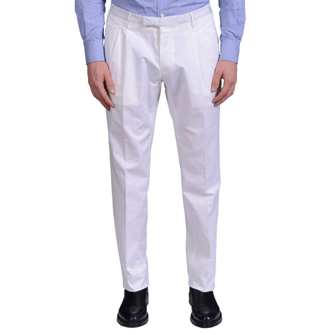BOGLIOLI Milano White Cotton Twill Double Pleated Pants EU 50 NEW US 34
