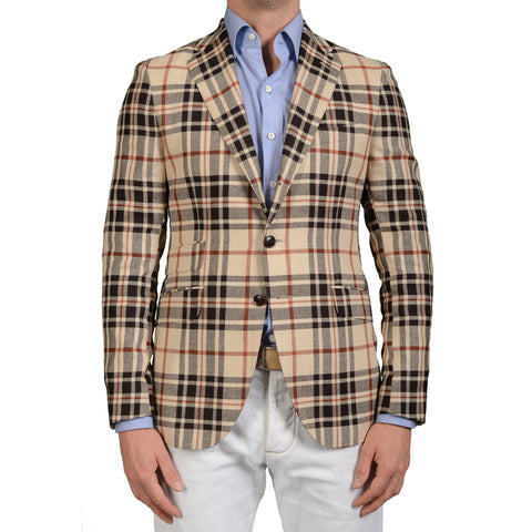 "BOGLIOLI Milano ""York"" Beige Plaid Silk-Linen-Wool Blazer Jacket EU 50 NEW US 40"