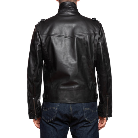 BOTTEGA VENETA Black Taurus Leather Motorcycle Jacket EU 50 US M