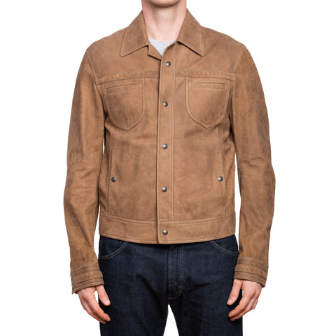 BOTTEGA VENETA Light Brown Suede Leather Pilot Jacket Blouson EU 50 US M