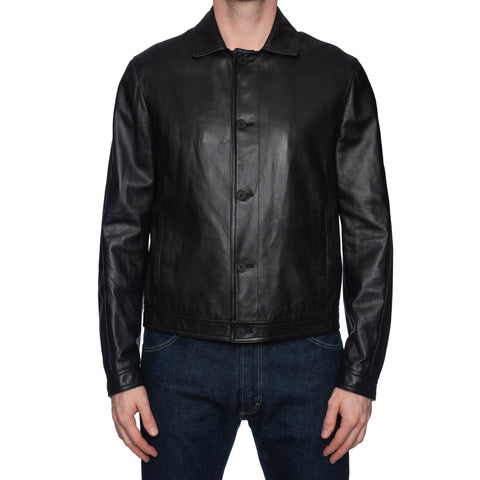 BOTTEGA VENETA Black Sheepskin Leather Blouson Jacket EU 50 NEW US M