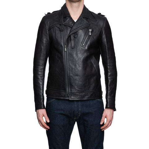 BOTTEGA VENETA Black Sheepskin Leather Motorcycle Jacket 50 US M Slim