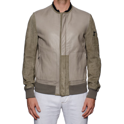 BOTTEGA VENETA Gray Taurus Leather Bomber Jacket with Velvet Lining 50 NEW US M